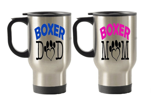 Boxer Dad and mom dog gift idea Stainless Steel Travel Insulated Tumblers Mug (Mom)
