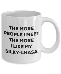 The more people i meet the more i Like My silky-lhasa mug – Funny Coffee Cup – Christmas Dog Lover cute GAG regalo idea 11oz Infradito colorati estivi, con finte perline