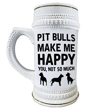 Pit Bulls Make Me Happy 22 oz. Ceramic Beer Stain Glass Mugs with Decorative Gold Trim
