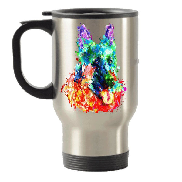 Colorful German shepherd dog lover Stainless Steel Travel Insulated Tumblers Mug