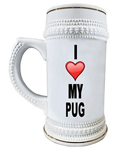 I Love My Pug 22 oz. Ceramic Beer Stain Glass Mug with Decorative Gold Trim