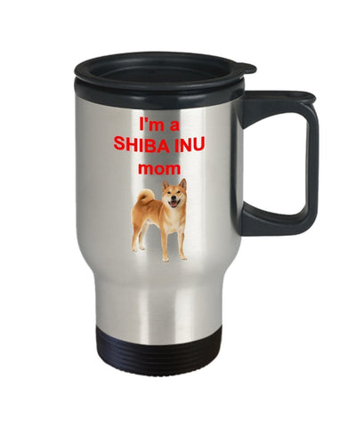Shiba Inu Mom Travel Mug – I'm A Shiba Inu Mom - Funny Tea Hot Cocoa Coffee Insulated Tumbler - Novelty Birthday Christmas Anniversary Gag Gifts Idea