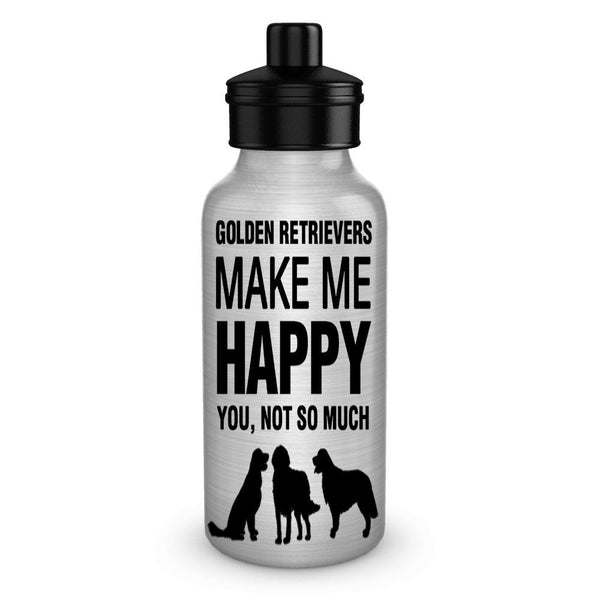 DogsMakeMeHappy Golden Retrievers make me Happy Dog Lover Water Bottles