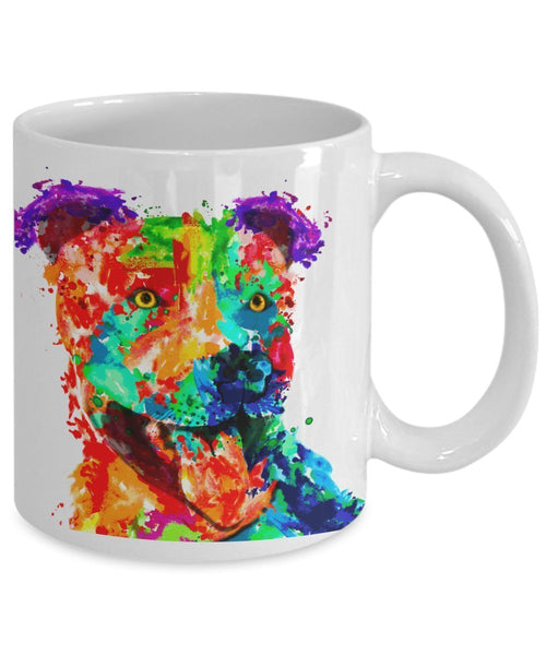 Colorful Pit Bull Coffee Mug- Pit Bull Lover Gifts- Pit Bull Items - Pit Bull Mug - 11 oz Ceramic Mug (White)