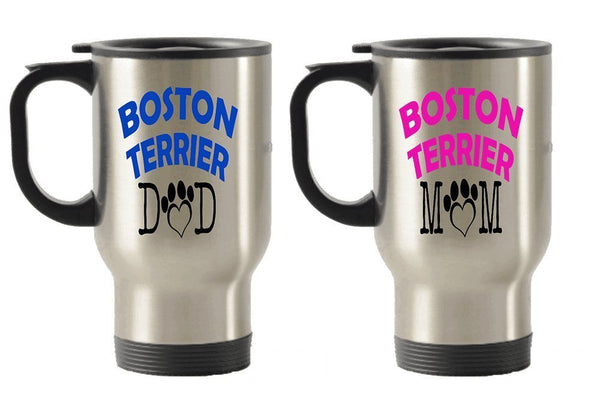 Boston Terrier Dad and Mom gift idea Stainless Steel Travel Insulated Tumblers Mug (Dad)