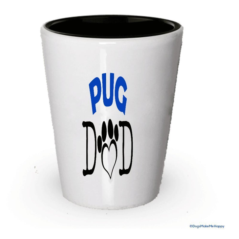 Pug Dad and Mom Shot Glass - Gifts for Pug Couple (4, Couple)