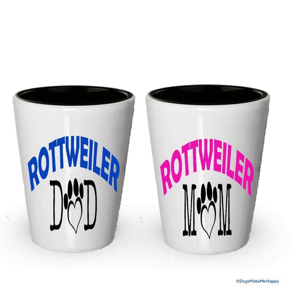 Rottweiler Dad and Mom Shot Glass - Gifts for Rottweiler Couple (4, Couple)