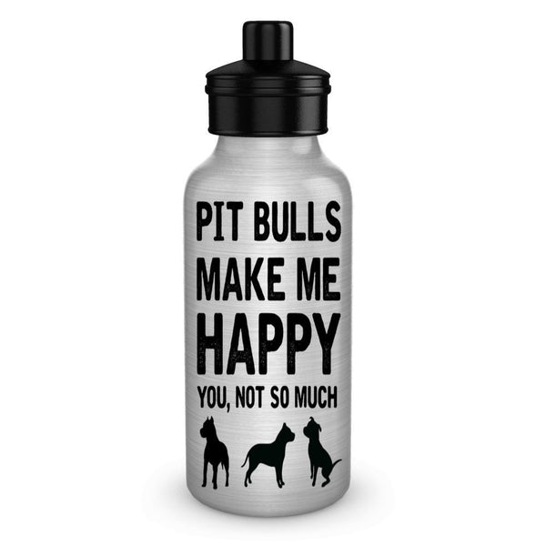 Pit Bulls make me happy dog lover water bottles