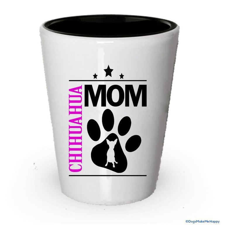 Chihuahua Dad and Mom Shot Glass- Couples Dog Gifts (1, Dad)