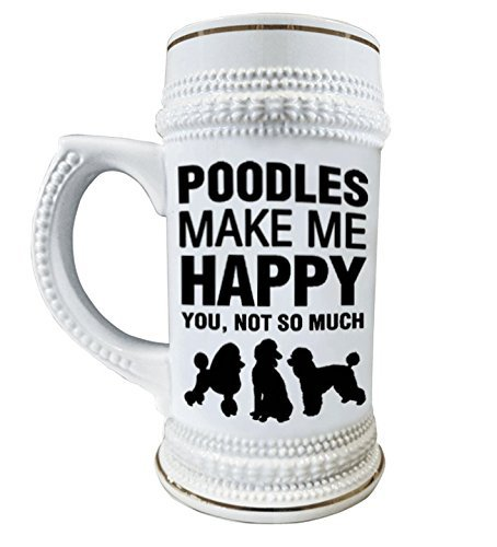 Poodles Make Me Happy 22 oz. Ceramic Beer Stain Glass Mugs with Decorative Gold Trim