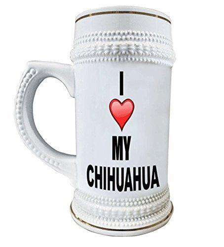 I Love My Chihuahua 22 oz. Ceramic Beer Stain Glass Mugs