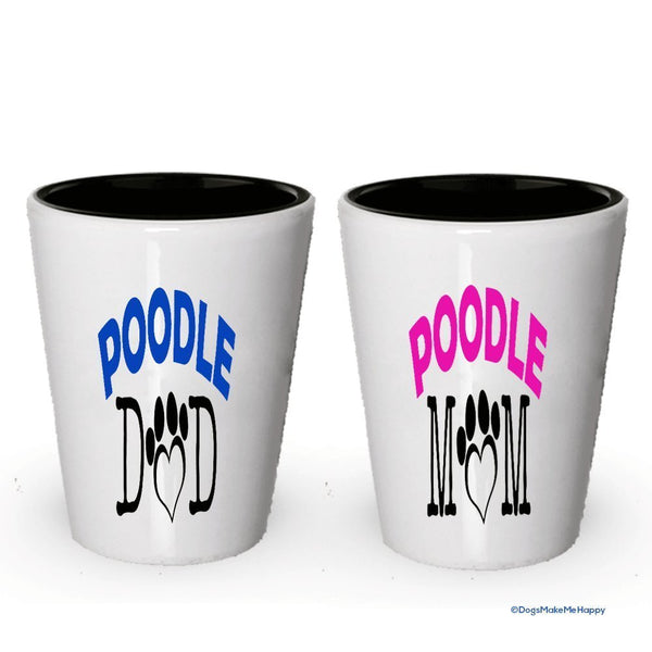 Poodle Dad and Mom Shot Glass - Gifts for Poodle Couple (4, Couple)