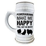 Pomeranians Make Me Happy 22 oz. Ceramic Beer Stain Glass Mug with Decorative Gold Trim