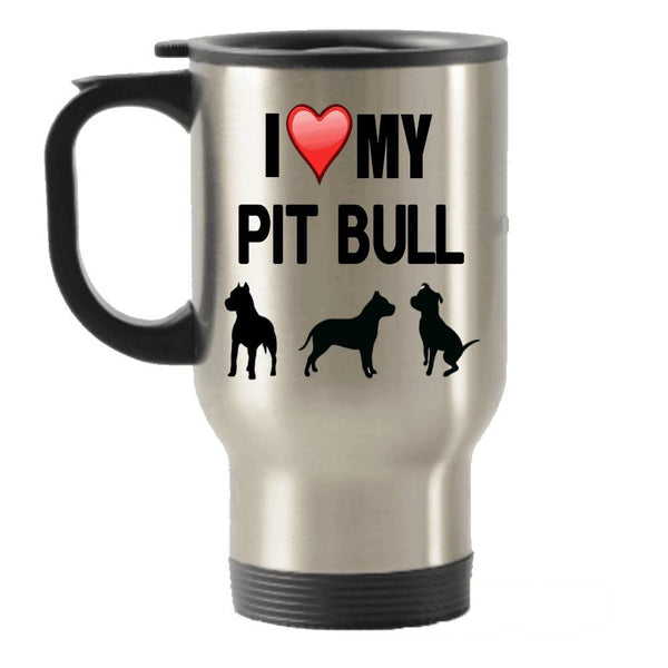 I Love My Pit Bull Gift - Pit Bull Stainless Steel Travel Insulated Tumblers Mug