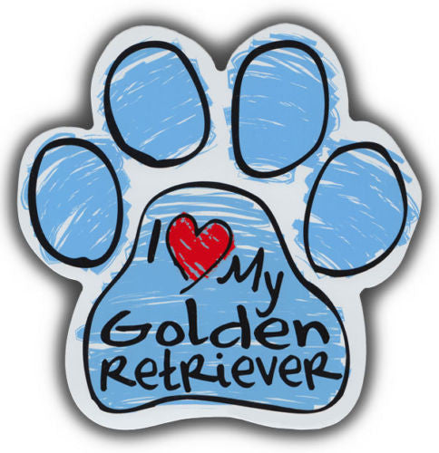 I <3 my golden retriever blue scribble magnet - Dogs Make Me Happy