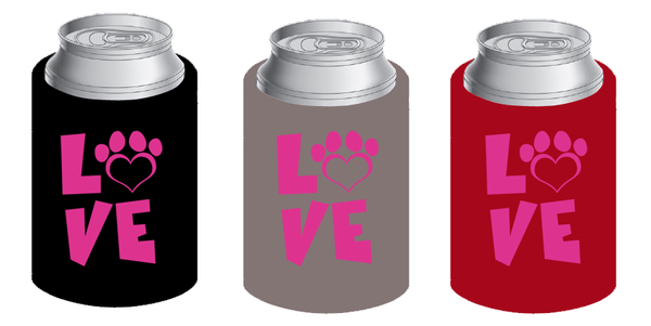 LOVE koozie in pink (set of 2) - Dogs Make Me Happy