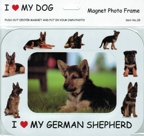 I <3 my German Shepherd photo frame magnet - Dogs Make Me Happy