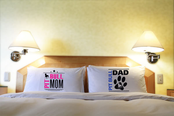 Pit Bull Mom And Dad Pillow Cases - Dogs Make Me Happy - 2