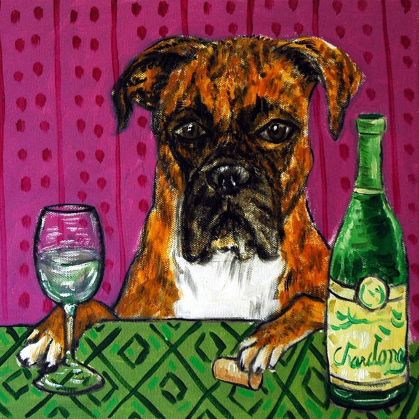 Boxer at the wine bar coaster - Dogs Make Me Happy