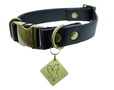 Forest Green Vegan Buckle Collar - Nickel Matte