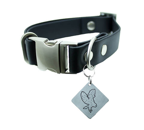 Jett Vegan Buckle Collar - Nickel Matte