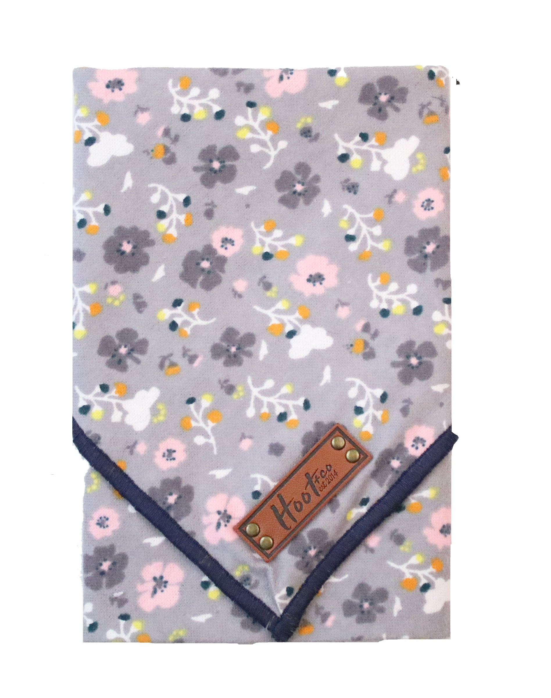 Poppy Floral Rolled Bandana - Gray