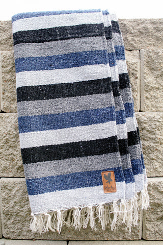 Adventure Diamond Aztec Blanket - BLUE/GRAY