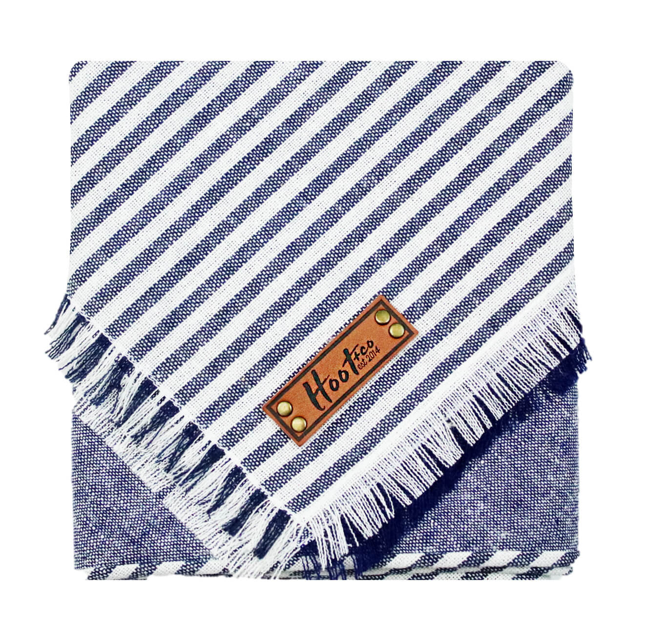 Lane Linen Navy Frayed Bandana