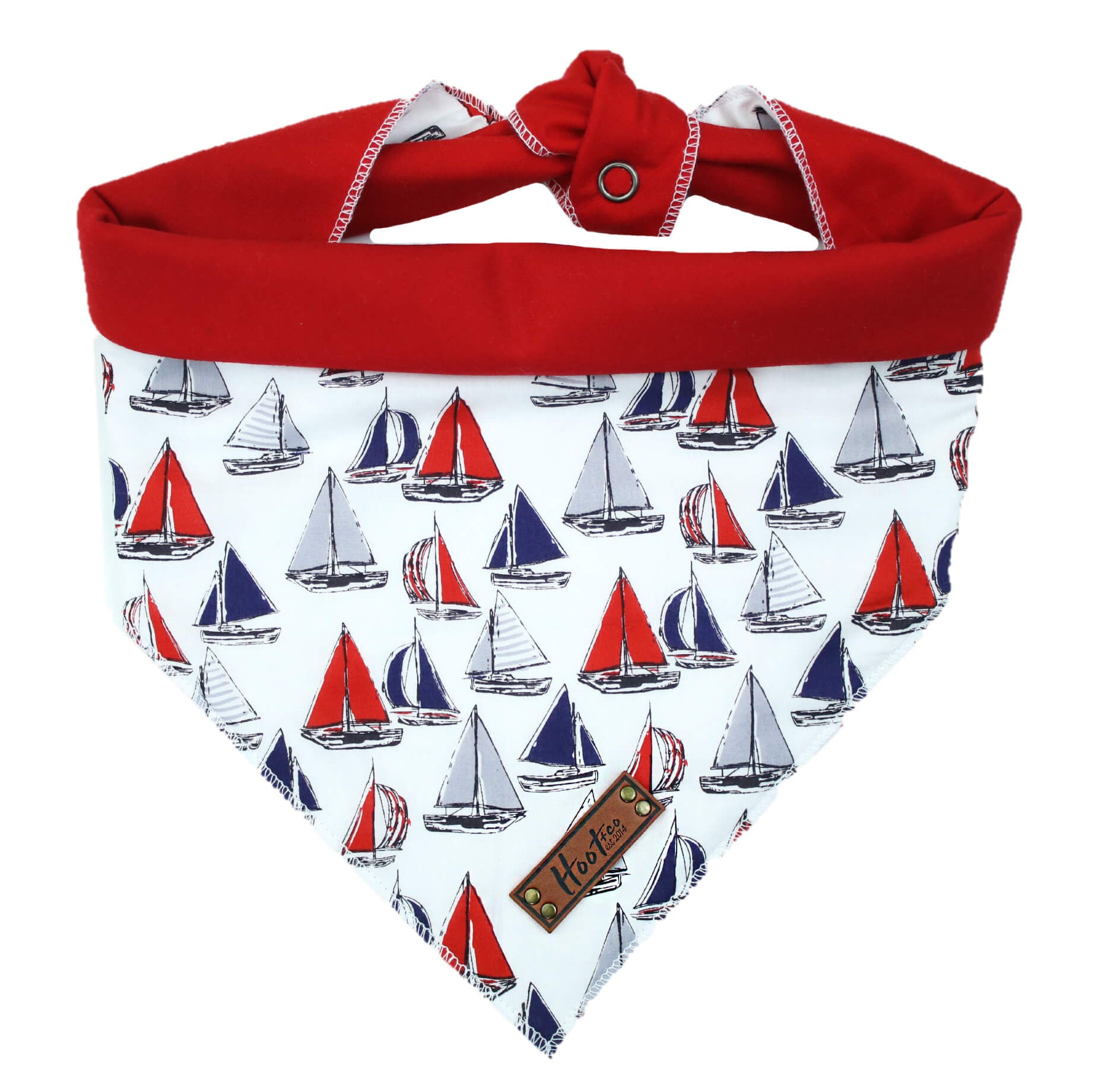 Sailboats in Red Rolled Bandana