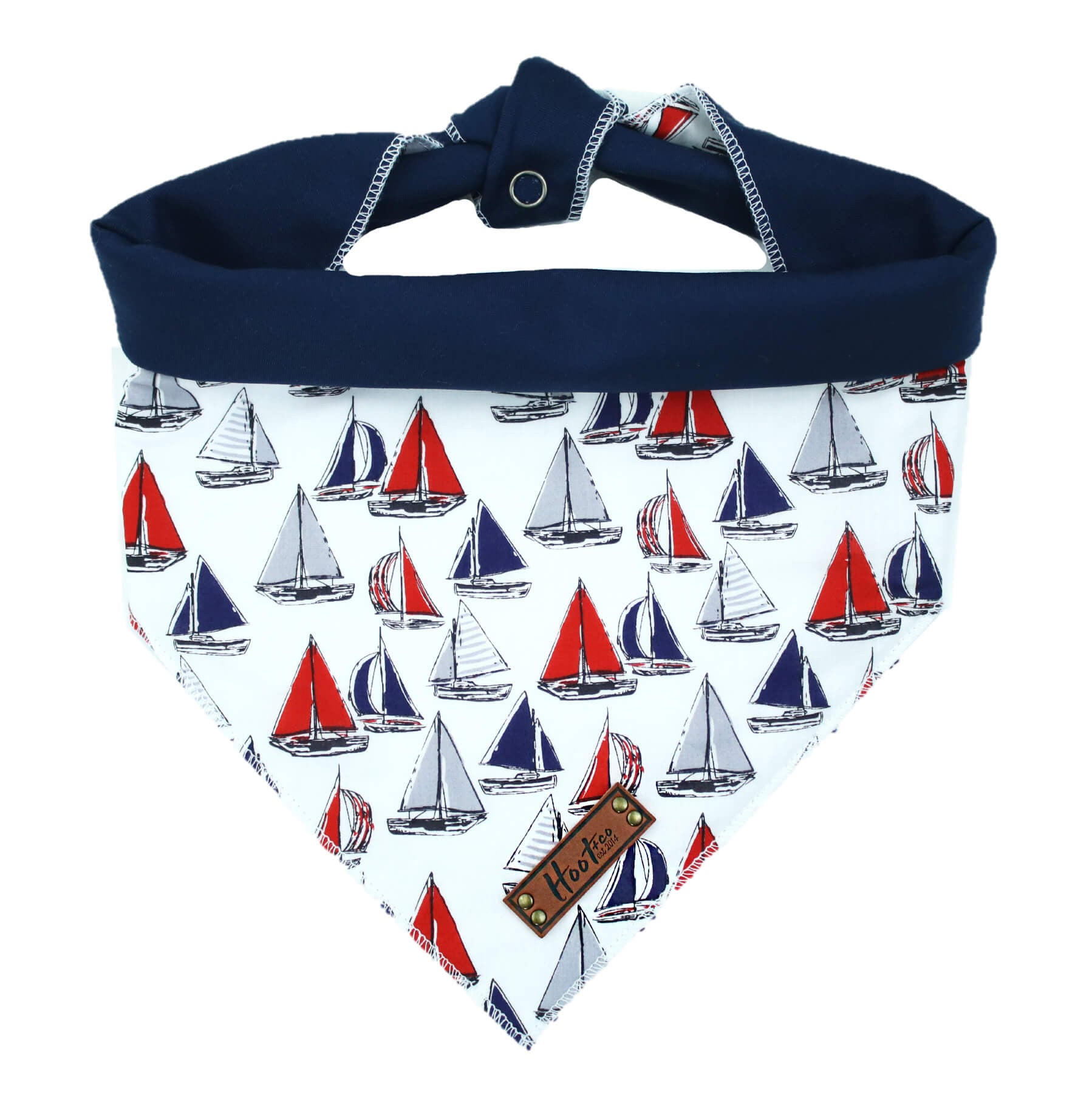 Sailboats in Navy Rolled Bandana