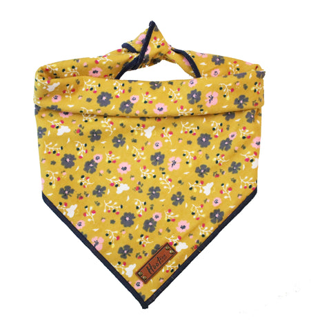 Poppy Floral Rolled Bandana - Yellow
