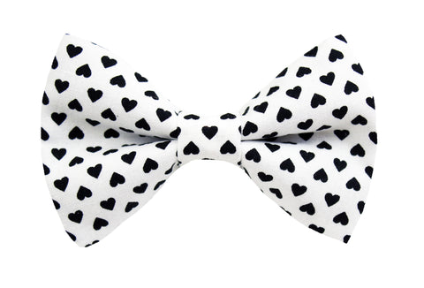 Black + White Hearts Bow Tie