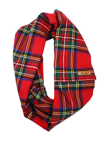 Classic Red Flannel Infinity Scarf
