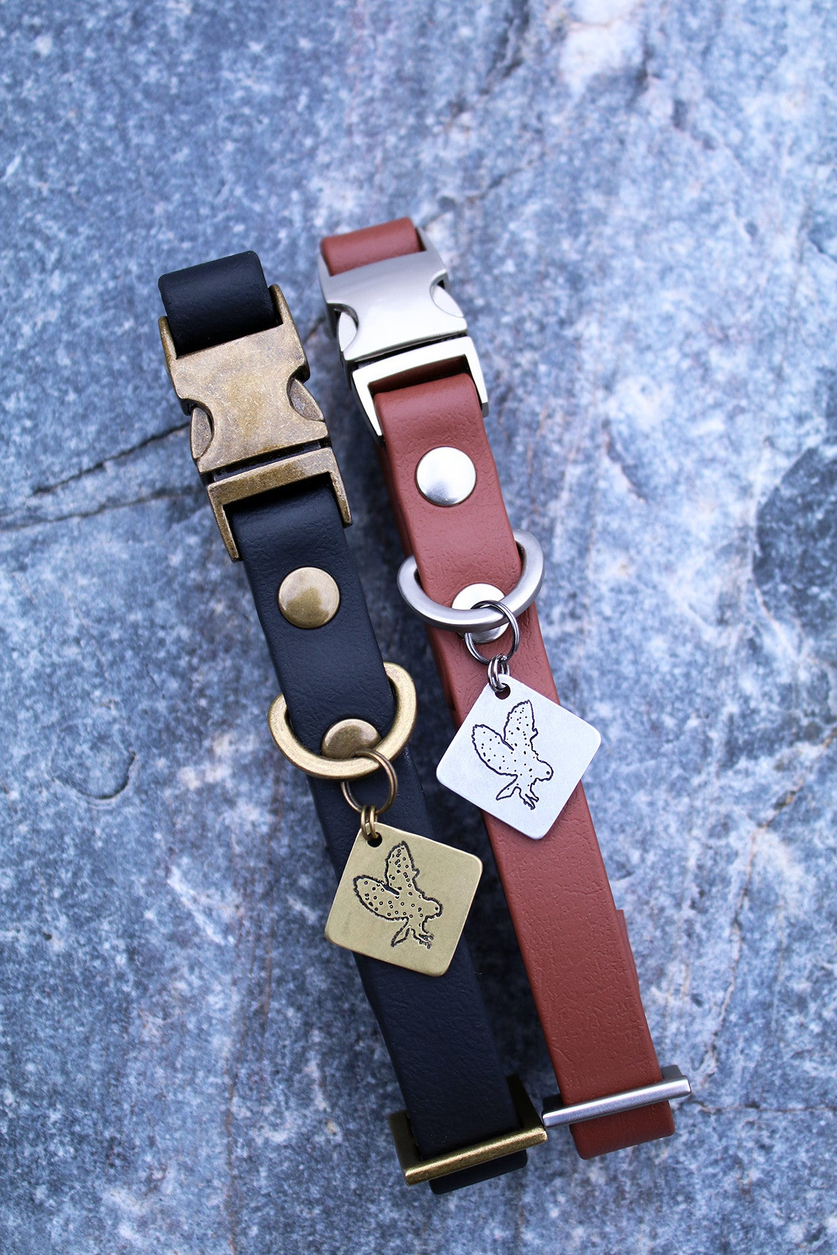 Jett Vegan Buckle Collar - Antique Brass