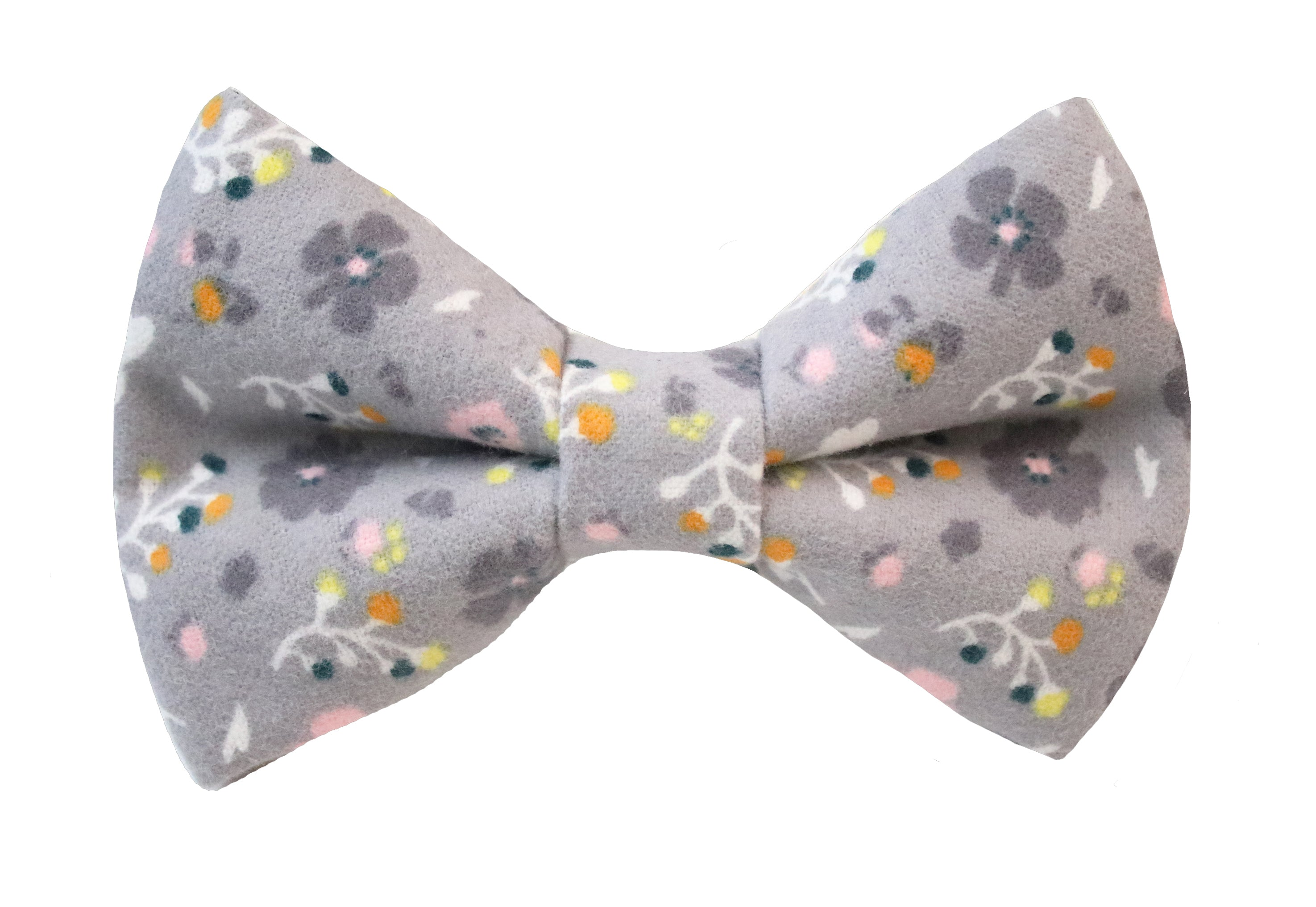 Poppy Floral Bow Tie - Gray