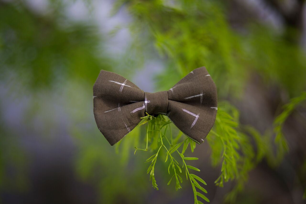 Olive Ikat Bow Tie