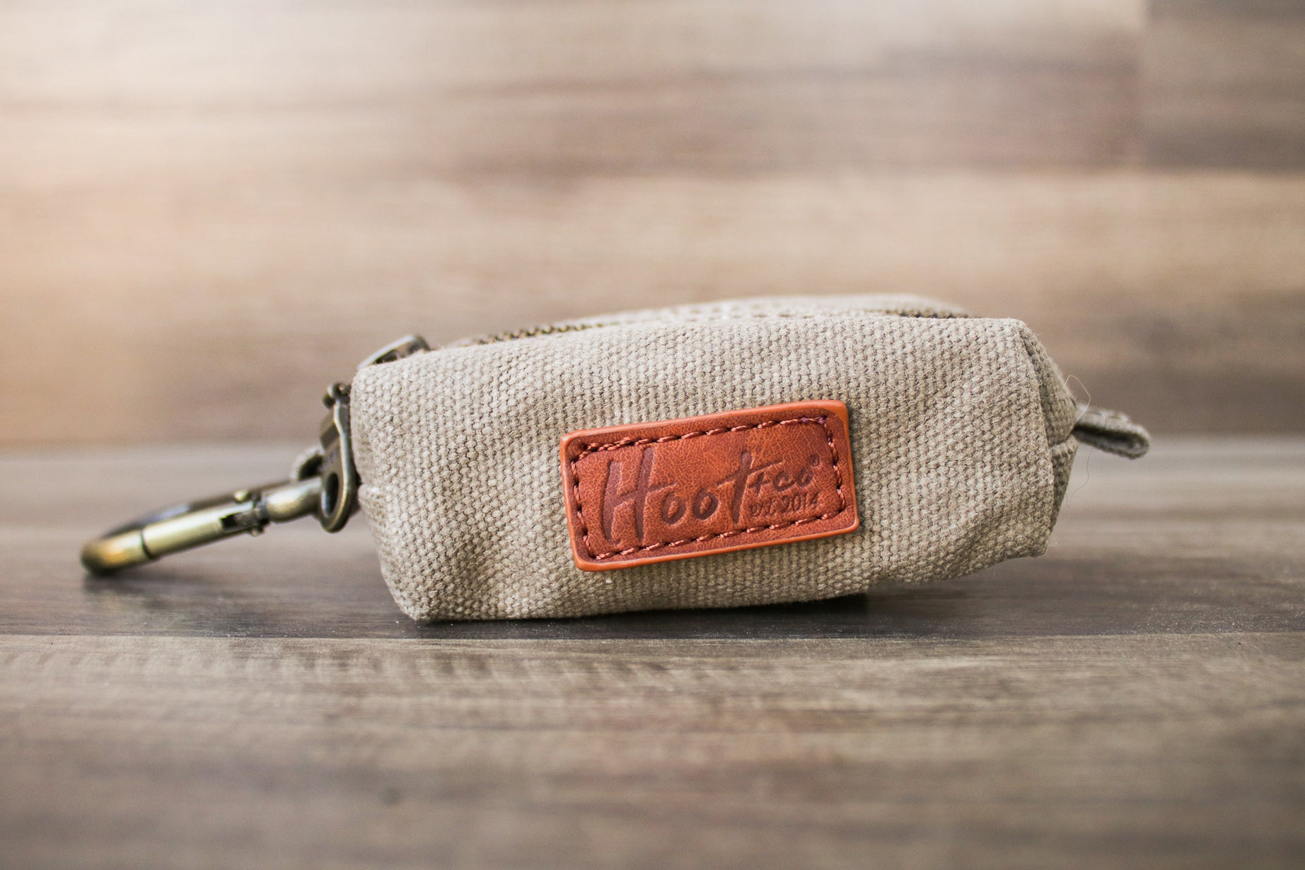 Waxed Canvas Poop Bag Holder - Khaki