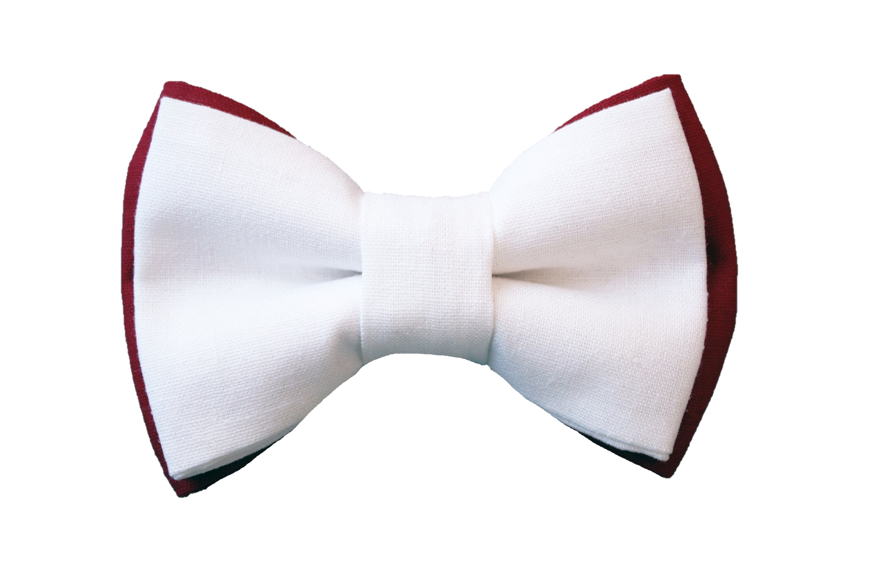 White + Cranberry Linen Bow Tie