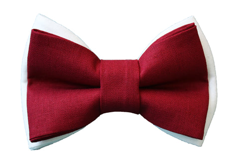 Cranberry + White Linen Bow Tie
