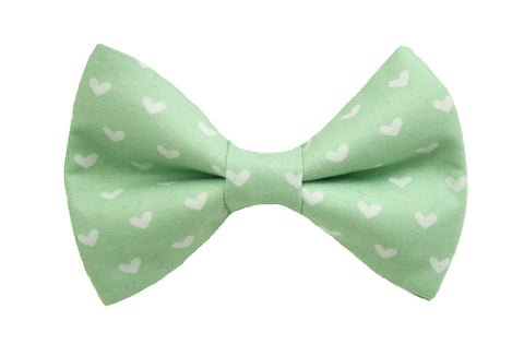 Mint Hearts Bow Tie