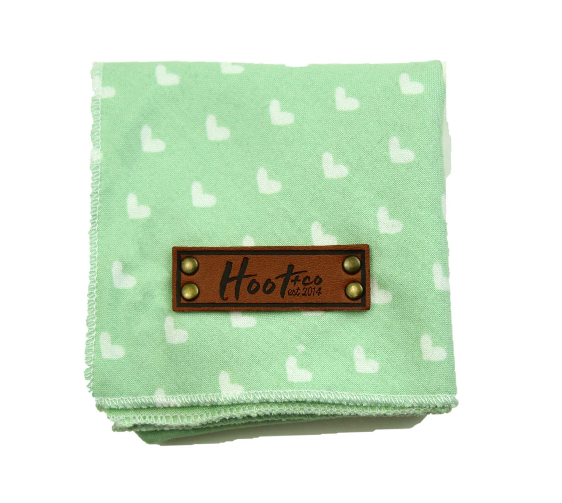 Mint Hearts Bandana - Tie + Snap
