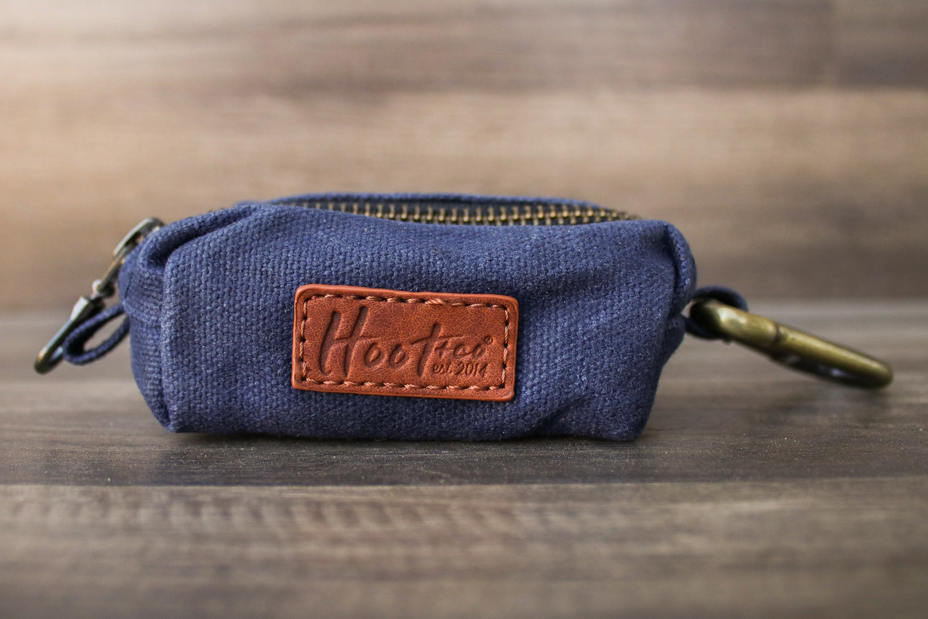 Waxed Canvas Poop Bag Holder - Navy