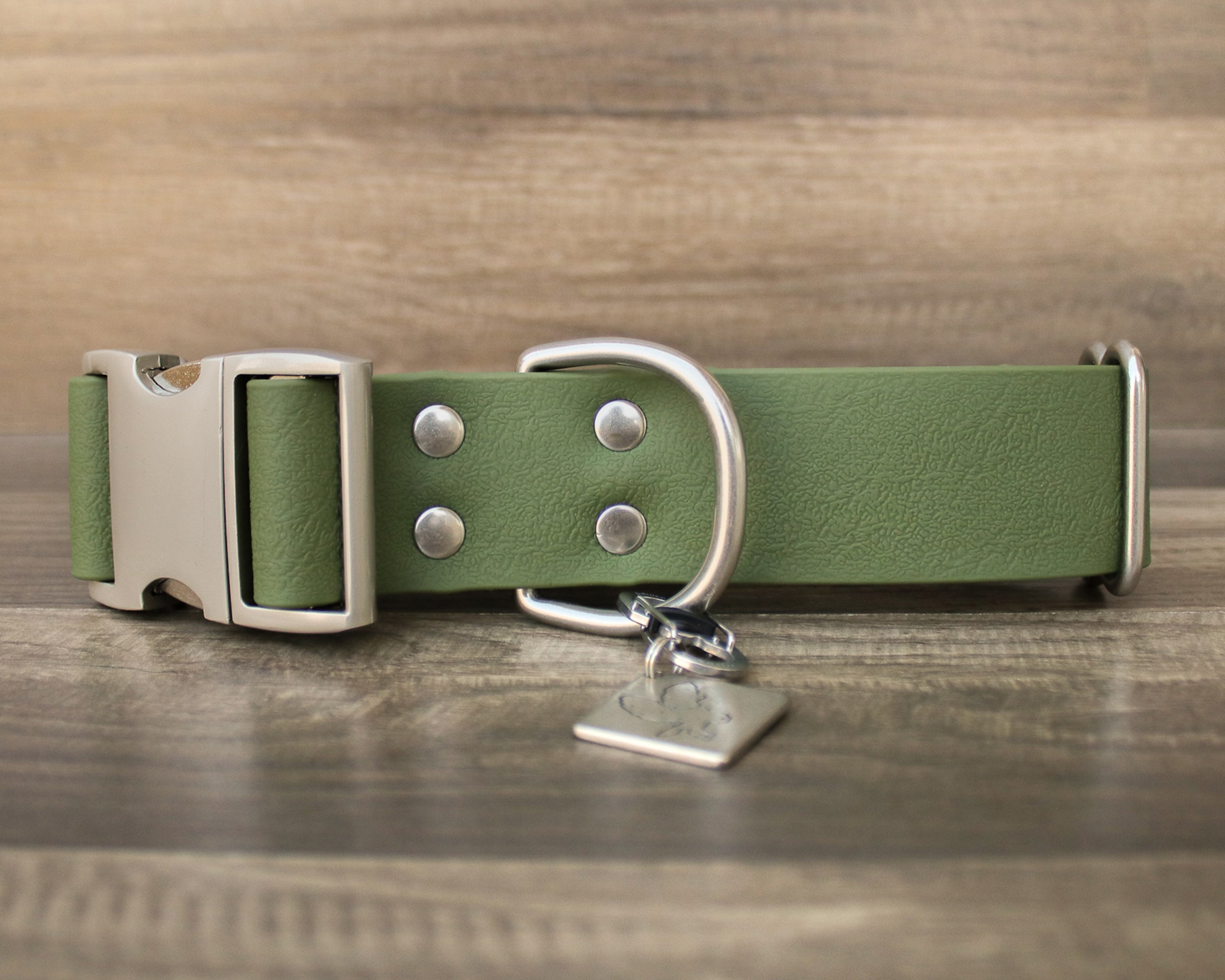 "1.5"" Olive Quick Release Collar- Nickel"