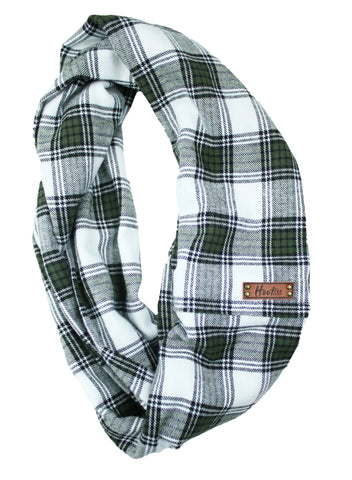 Olive Flannel Infinity Scarf