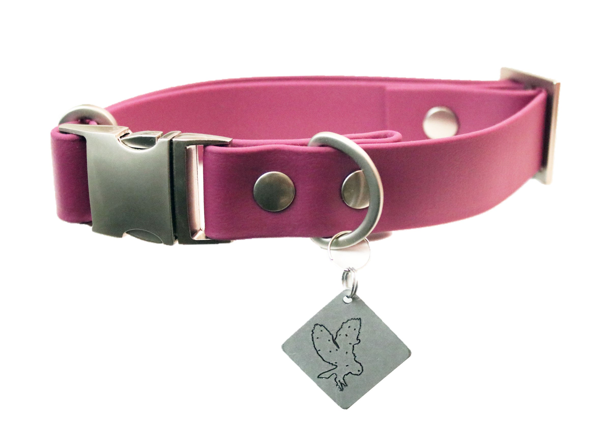 Wine Vegan Buckle Collar - Nickel Matte