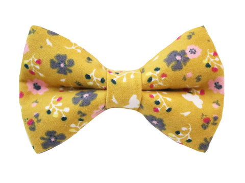 Poppy Floral Bow Tie - Yellow