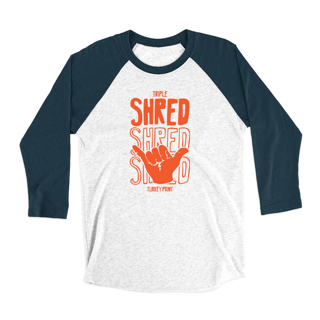 Unisex Triple Shred 3/4 Raglan