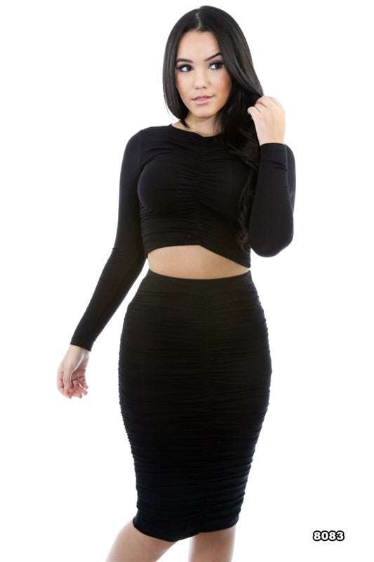 Long Sleeve Cop Top & Shirring Midi Skirt Set