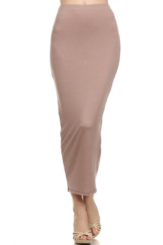 High Waist Solid Maxi Skirt Taupe