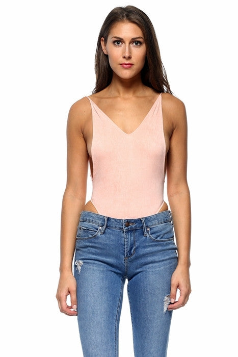 'On The Side' Suede Bodysuit Blush